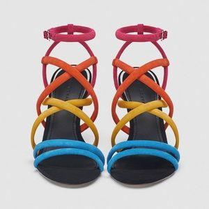 Zara multi color, strappy heel.